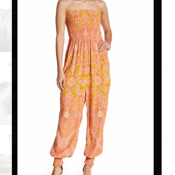 Free People Pants - Free people thinking of you smocked jumpsuit